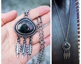 Feather necklace, silver feather necklace, handmade, chunky silver necklace, bohemian, chrysocolla, native american inspired, hallmark