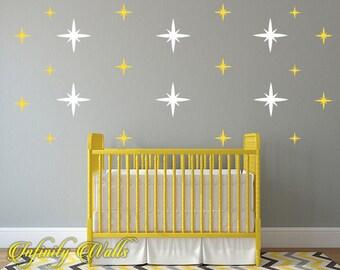 Starburst Multi Color Wall Decor Decals - Metallic Starburst Decal Set - SparklePattern Decals - Nursery room decor - Starburst Wall Decals