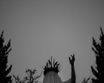 The Summoning - Afterlight Series, dark witchy photo, full moon, black and white fine art print