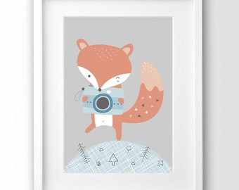 Little Fox With Camera, Nursery Animal Print, Downloadable Art
