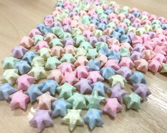 120 Colourful Glow in the Dark Stars printed Vellum Origami Lucky Star