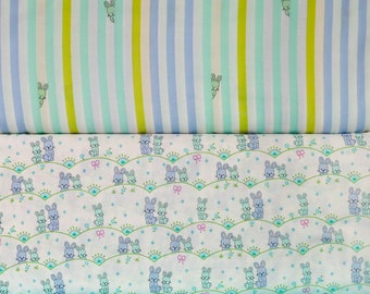 2 piece fabric bundle from Michael Millers Bunny Scallop Collection. You choose the cut,Fabric by the yard. Premium quilt weight 100% cotton