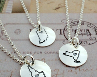 Travel Gifts - Mini Home State Necklace - Home Is Where Your Heart Is Collection - Custom State Necklace by EWDjewelry - Wanderluster Gifts