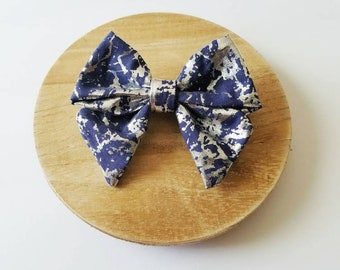 Blue and silver hairbow, metallic bow, spotted bow, alligator clip, nylon headband