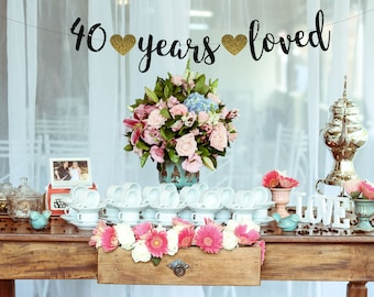 Cheers to 40 Years Banner,40th Birthday Decoration,40 Birthday,40th Birthday Banner,Fortieth Birthday Party Decor, cheers to 40 years