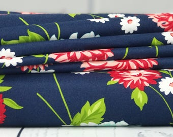 The Good Life - Navy Floral Fabric - Bonnie & Camille - Moda Fabric - Floral Fabric - Fabric Yardage - 55150-16