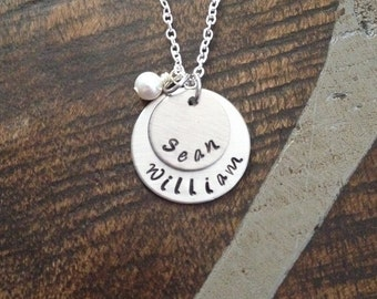 Mom Necklace Grandchild Necklace Personalized Necklace Personalized Jewelry Handstamped Necklace Name Necklace Gift for Mom Gift for Grandma