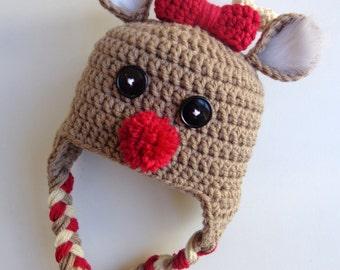 Newborn Crochet Reindeer Hat- Photo Prop- Baby Girl Baby Boy- Deer Hat- Knit Hat