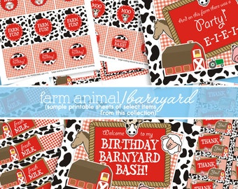 Barnyard Birthday Decorations - Farm Birthday Party - Farm Party Decorations - Farm Party Printables - PRINTABLE, INSTANT DOWNLOAD