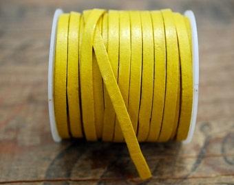 Flat Leather Cord 3mm Wide 10 Yard Spool Yellow