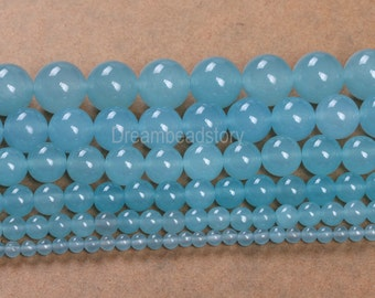 Chalcedony Beads, Smooth Round Aqua Chalcedony Beads, Light Blue Chalcedony Beads Strand, 4 6 8 10 12 14mm Chalcedony Stone (B29)