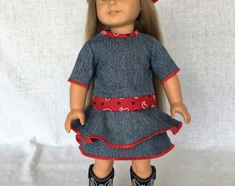 18 inch doll dress - AG denim doll dress - 18 inch doll dress - designed to be worn by 18 inch dolls such as American Girl
