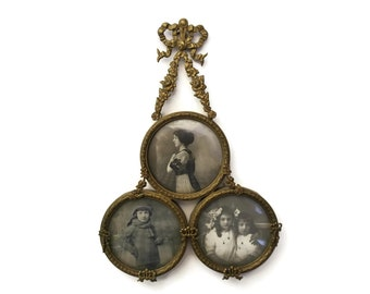 Antique Picture Frame with Triple Family Portrait Medallions and Brass Ribbons. French Photo Frame. Louis XV Style Home Decor. Gift for Her.