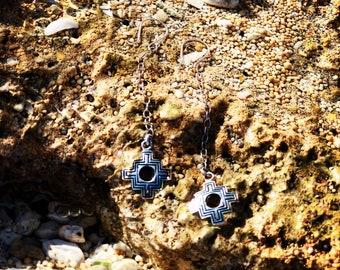 Cakana Peruvian silver earrings, Aztec jewelry, Geometric jewelry set, Positive energy Inca cross symbol earrings Devine design, Chacana