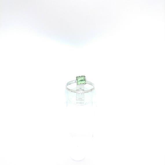 Green Tourmaline Crystal Ring   Sterling Silver Ring Sz 5    Raw Green Tourmaline Ring   Raw Crystal Ring   Uncut Gemstone Ring