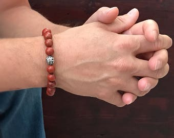 Men's Mala Bracelet, Bali Bracelet, Sterling Silver Bead, Men's Bracelet, Bohemian Bracelet, Bohemian Jewelry, 10mm Beads, Father's Day