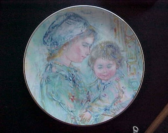 Vintage Royal Doulton 1973 Colette and Child Limited Edition Plate & Box, First in Mother and Child Series by Edna Hibel, Mother's Day Gift