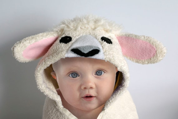 Hooded towel lamb sheep baby gift animal towel hooded towel lamb sheep baby gift animal towel personalized baby towel baby shower baby toddler negle Images
