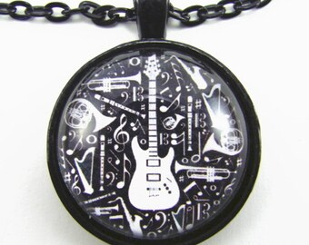 ELECTRIC GUITAR and other musical instruments Necklace -- Music art for him and her