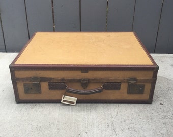 Vintage Suitcase; Hartmann Skymate Suitcase; Hardboard Luggage; Tan Suitcase; Vintage Luggage; Hartmann Skymate Suitcase