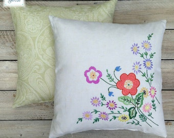 Decorative Floral Cushion - Embroidered Vintage Square Pillow - Vintage Home - Multi Coloured Flower Pink Purple Coral Green by Daisies Blue