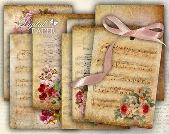 Music Paper - background - digital collage sheet - set of 8 - Printable Download