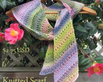 Spring Garden Scarf knitting pattern, easy scarf pattern, lightweight scarf, spring scarf, full instructions and tips