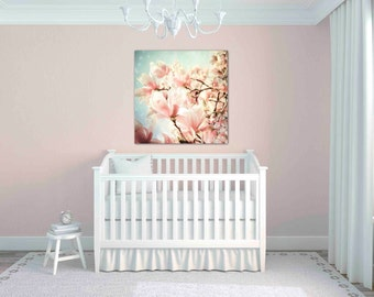 magnolia tree photography - pastel pink floral wall art - flower photography - magnolia print