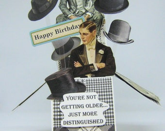 Masculine Birthday Box Card - Pop Up Card - Customize age