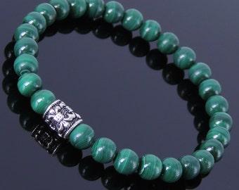 Men's Women Malachite Sterling Silver Bracelet Fleur de Lis Bead Gemstone DiyNotion Handmade BR261E