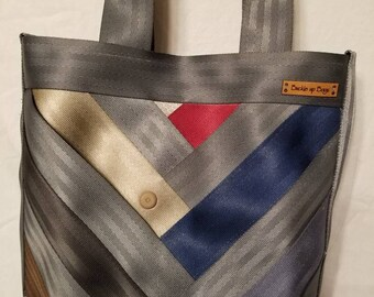 Seatbelt purse Seatbelt bag Seatbelt tote bag recycled seatbelt bag in a multi color with grey top handle bag