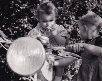 """Vintage 1950/50s French black and white photography children playing on a moto 3.3"""" x 3.3"""""""