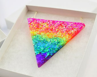 Rainbow Prism Triangle Resin Statement Necklace Pendant Jewellery Bunting Geometric Tropical Exotic Colourful Glitter Kitsch Kawaii Festival