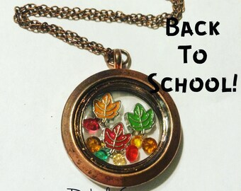 Autumn Fall Leaves Leaf Season Change Thanksgiving Halloween Floating Charm Memory Locket