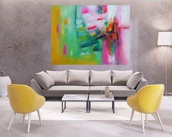 Oversized pink art print on canvas, giclee wall art, pink flamingo green mustard yellow modern abstract,happy art,fun bright colors magenta