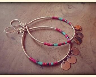 Boucles d'oreilles en argent 925 et perles de verre.