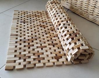 Wood Rug/Bathroom Rug /Bath Mat/Wood Floor Mat/Wooden parts mat /Wood pieces mat/ 92X48 cm/36,2X18,8 inches/ 120X48 cm/ 48,2X18,8 inches