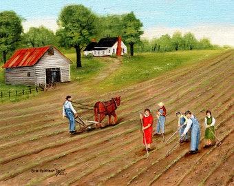 Country Scene, Farm Painting, Primitive Folk Art, Rural Scene, Field, Old Barn, Folk Art Print of Original painting, Arie Reinhardt Taylor