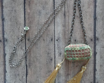 Crocheted Lace Stone Necklace, Handmade, Rock, Original, Green, Gold, Antique Silver, Nature, Bohemian Style, Gift, Tassels, Unique, Monicaj
