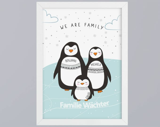 Penguin Family-art print without frame