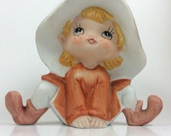 Homco pixie elf, vintage pixie, home interiors elf figurine, 1970's home interiors pixie elf, pixie collectible, elf collectible, Homco