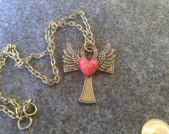 Necklace - Cross with Red Heart