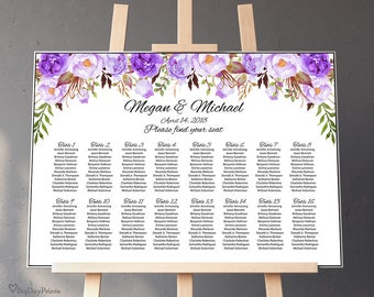Wedding Seating Chart Template, Purple Boho Chic Floral Wedding Table Plan, Seating Plan, Landscape, #A020, INSTANT DOWNLOAD, Editable PDF