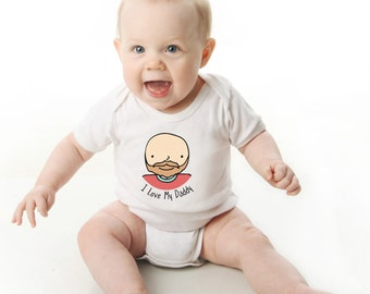 Father's Day Onesie, I Love My Daddy Onesies®, Fuzzy Daddy Onesie, Bald Daddy, Daddy with Beard, Daddy and Daughter Shirt, New Dad, Girl