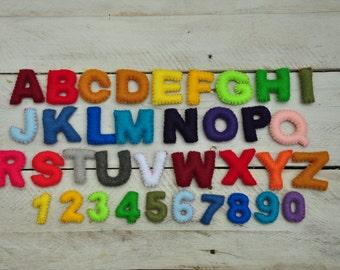 """2"""" Felt Alphabet set plus numbers, Felt Alphabet Set, Felt Letters, Felt Stufffed Numbers"""
