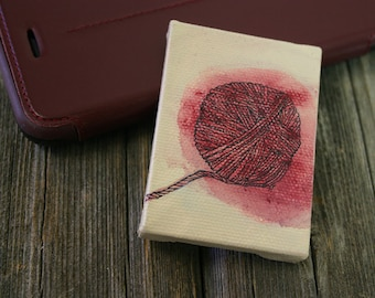 Miniature Yarn Painting- Acrylic, Ink on Canvas- Ball of Red Yarn- 2x2.75- Easel Included- ACEO