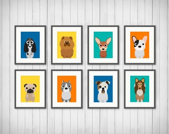 Dog Nursery Art, Dog Nursery Decor, Pug Gift, Gift Under 20, Dog Kids Wall Art, Dog Kids Art, Pet Lovers Gift, Boxer Art, 4x6 5x7 8x10 11x14