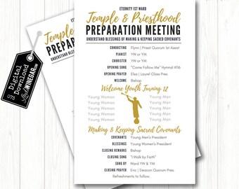 NEW 2018 Temple & Priesthood Preparation Program | Navy, Gray, Gold | LDS Primary Program  | Personalized Digital Download 8.5x5.5 JPG + pdf