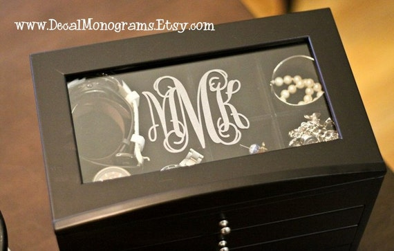 Etched glass monogram vinyl decal