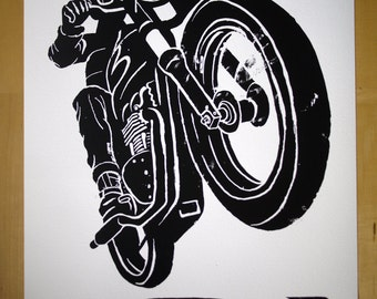 Bonneville brat, giclee 420mm x 594mm signed, numbered and rubberstamped edition number 4 of 69
